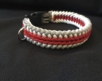 NEW!!!  Gray, White and Red Paracord Dog Collar in the Wide Sanctified Weave (custom size)