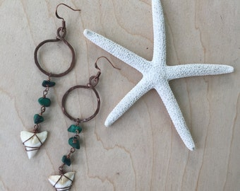 Malachite and Shark Tooth Small Hoop Drop Earrings