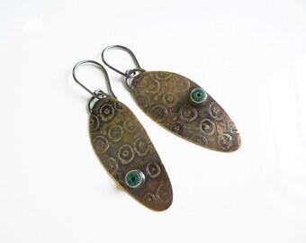 Brass earrings , chrysocolla earrings, Bronze jewelry, Peruvian jewelry, Unique jewellery, bronze earrings, contemporary jewelry, metalwork