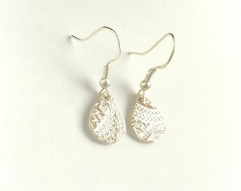 Fine Silver Tear Drop Earrings with Paisley Pattern, Fine Jewelry,Small Tear Drops, Gift for Women, Gift Under 100