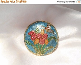 50% OFF SALE Floral and Butterfly Motif Round Cloisonne Vintage Brooch With Vibrant Colors