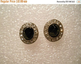 50% OFF SALE Monet Black Faceted Stone and Clear Crystal Rhinestone Pierced Earrings