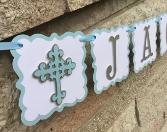 Light Blue and Silver Boy Christening Baptism Name Banner