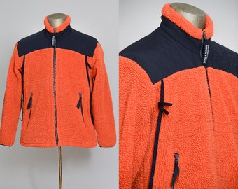 90s Monkey Fleece Sierra Designs Bright Orange Full Zip Mountaineering Fleece Made in USA