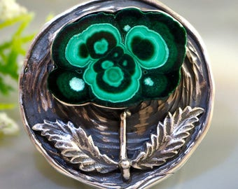 Malachite Ring Magic Flower Ring Sterling Silver Jewelry