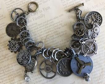 Industrial Chic Metal Urban Mixed Media Altered Art Steampunk Clocks Gears Victorian Charm Bracelet