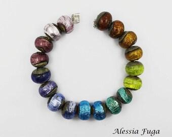 Silver Rainbow lampwork glass beads set- pairs