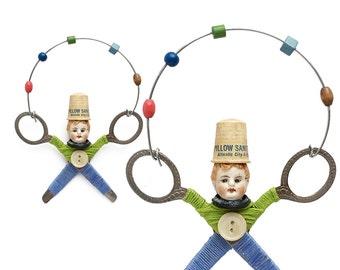 little JUGGLER (8), original art doll ornament, found object art, mixed media assemblage, by Elizabeth Rosen