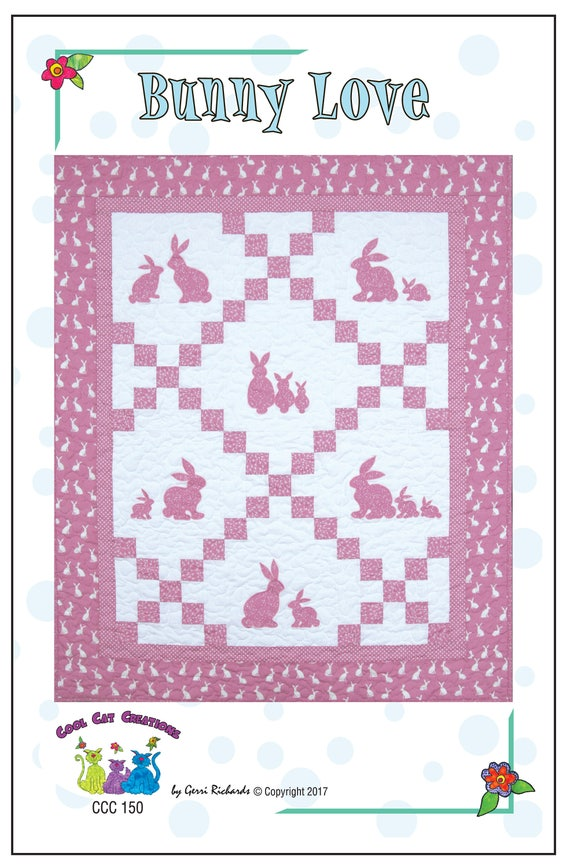 Bunny Love Quilt Pattern Sizes For Baby Crib and Single Quilt Size ... : single quilt size - Adamdwight.com