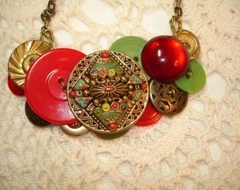 VINTAGE Button Necklace-SHINE ON -Collectible Vintage Buttons -Vintage jewelry-Red  Green Gold Metal buttons - Statement Necklace