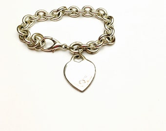 Heart Bracelet, VIntage Guess, Chunky Silver Tone, Clearance SALE , Item No. B074