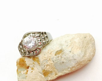 Vintage Engagement Ring Size 8.5, Silver Tone, large clear CZ, Clearance SALE, Item No. B333
