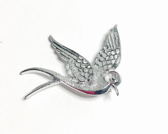 Vintage Sarah Cov. Dove Brooch, Silver Tone, Figural, Clearance Sale, Item No. B448