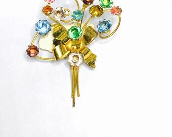 1940's VOGUE Sterling Flower Brooch,  Stamped, Multicolor rhinestones, Item No. S180