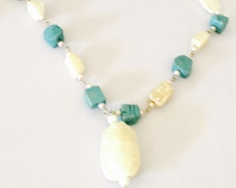 Egyptian Scarabs Necklace, Large Vintage Carved Pendant,  White & Turquoise Color, Item No. B 762