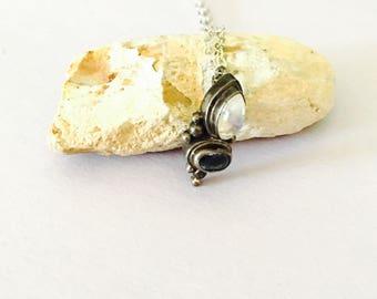 Vintage silver pendant/Necklace, Moonstone, Sapphire CZ, Romantic design, item No. S412