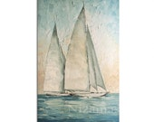 Acrylic and Oil Sailboats Painting on canvas PALETTE KNIFE original texture art ready to hang By Paula Nizamas