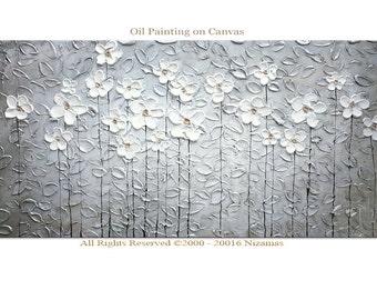 "OIl painting Silver Garden - 48"" Oil painting  ORIGINAL Modern  abstract heavy Textured palette knife metallic Nizamas wall decor modern art"
