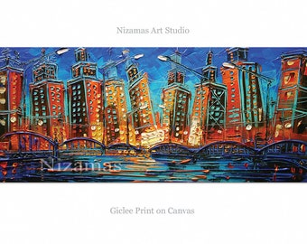 City - Bridge at Night in Chicago Giclee on canvas home interior Decor Paula Nizamas Ready to hang