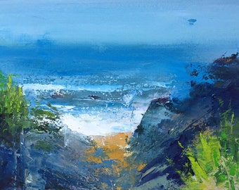 """Original 7.5"""" x 11.5"""" Oil Painting, contemporary, abstract landscape painting. beach art, coastal painting, bluff painting, fine art."""