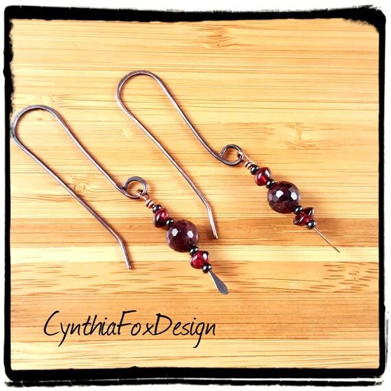 Garnet Earrings, Deep Red, Foxxy Jewelry from CynthiaFoxDesign