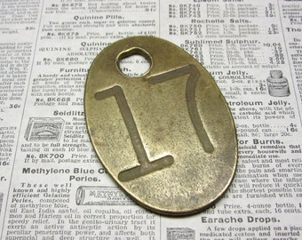 Antique Cattle Tag Number 17 Large Vintage Brass Tag Livestock Bull Tag #17 Tag Cow Tag Industrial Tag Numbers Lucky Number Keychain Tag