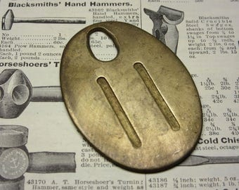 Antique Cattle Tag Number 11 Large Vintage Brass Tag Livestock Bull Tag #11 Tag Cow Tag Industrial Tag Numbers Lucky Number Keychain Tag