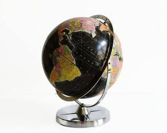 1960 vintage world globe black oceans