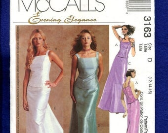 15% OFF SPRING SALE McCalls 3163 Evening Elegance Tops & Full Length Skirts  Sizes 12  14