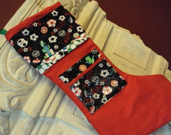 Picture pocket Christmas Stocking--for the Soccer fan personalize with your own picture