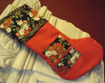 Photo, picture pocket personalize Christmas stocking, Red suede with poinsettia trim and picture pocket