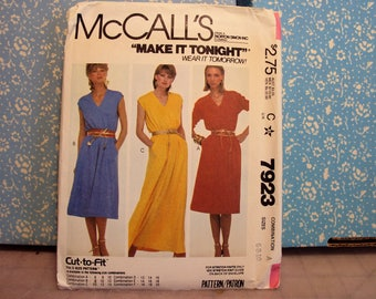 Dress pattern, long dress or knee length, 1980's style, Simplicity 7923, uncut pattern