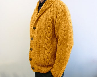 hand knitted mens cardigan mustard color 100% wool