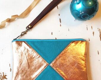 Evening Clutch Metallic Bag Faux Leather Wristlet Wallet Vegan Clutch Purse Zipper Pouch Turquoise Handbag Copper Wallet