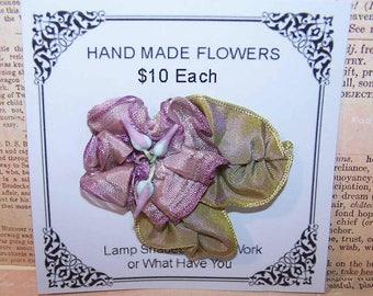 Vintage FRENCH Lavender Silk Rayon Floral Embellishment/Applique!