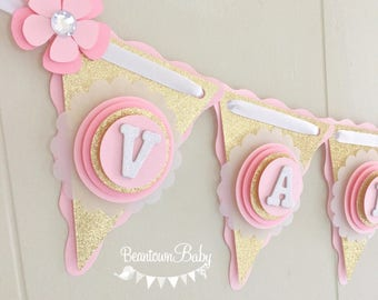 pink and gold baby shower banner gold glitter banner baby shower banner