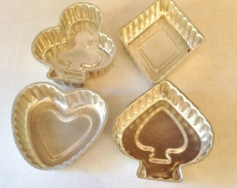Set of four Used Vintage Card Suits Shaped Jello Aspic Aluminum Molds