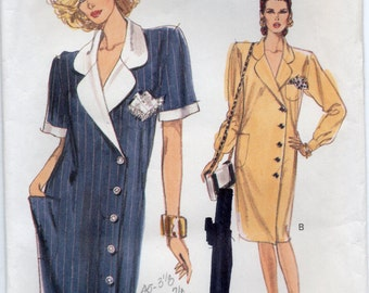 Straight Dress With Collar Shoulder Pads Asymmetrical Closing Above Elbow Or Long Sleeves Size 8 10 12 Sewing Pattern 1989 Vogue 7531