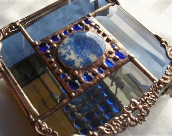 Stained Glass Jewelry Box|Lapis Lazuli Box|Slate Blue Glass|Cobalt glass Gems|Jewelry|Jewelry Storage|Glass Art|Handcrafted|Made in USA
