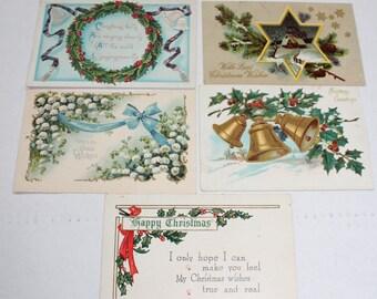 5 Antique Christmas Postcards 1910s