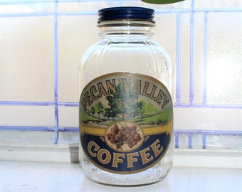 Vintage Pecan Valley Coffee Jar 1950s Kitchen Decor