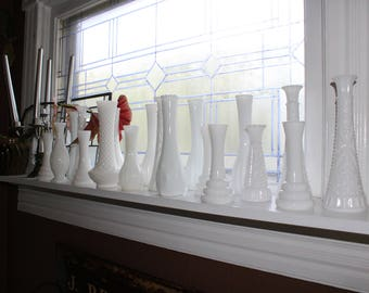 20 White Milk Glass Vases Collection Vintage Wedding Decoration