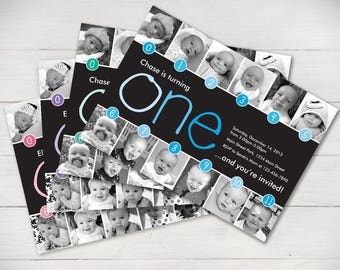 Timeline Ombre 1st Birthday Invitation (Boy or Girl) - Digital File