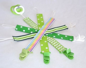 Pacifier Clips Select Your Print(s) - Spring Greens Collection