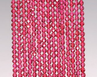 2mm Brizillian Red Garnet Gemstone Grade AAA Micro Faceted Fine Round 2mm Loose Beads 15.5 inch Full Strand (90142371-344)