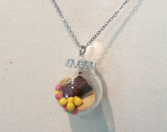 Biscuit and candy glass globe necklace  (only one available)