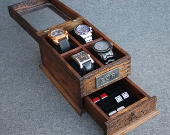 Watch Box, Watch Case, Men's Watch Box, Watch Box for Men, Wood Watch Box, Watch Display, Personalized Gift, Custom Watches and Cufflink Box