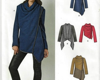 Simplicity New Look Pattern #6417 Misses' Long Sleeve Asymetrical Jacket SZ 6-24 Uncut Factory Folded