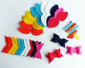 Felt Bows , Felt Bows Unassembled, 14 bows, DIY supplies, felt die cut, felt supplies, felt crafts, felt shapes, applique, hair clip bows