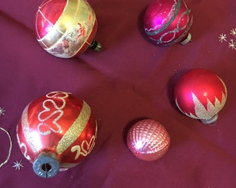 Five Vintage Christmas ornaments 1950's